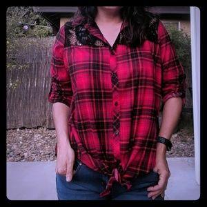 Eye Candy plaid blouse sz 2X